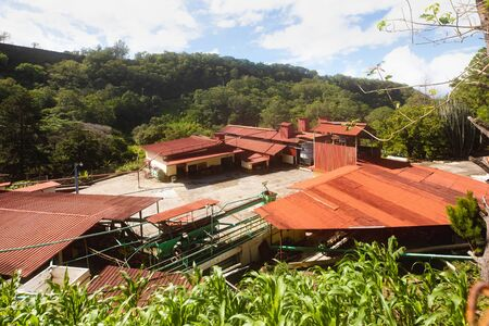 Costa Rica June 18 aerial view of a coffee processing plant in the San Jose hills. Shoot on June 18, 2020 Stockfoto