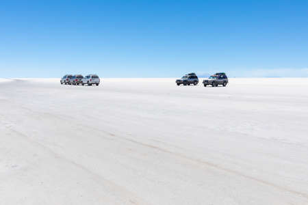 Colchani Bolivia October 22 Visiting big salar of Uyuni  on 4x4. The distances are very big and there are a lot of places to visit during the tour. Shoot on October 22, 2019