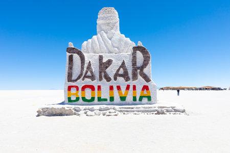 Colchani Bolivia October 22 Salt sculpture dedicated to the Dakar race of 2014 located in the big salar of Uyuni . Shoot on October 22, 2019
