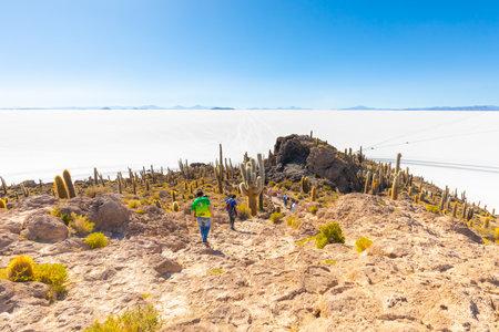 Uyuni Bolivia October 22 Tourists visiting the island of Incahuasi inthe middle of Uyuni Salar. Shoot on october 22, 2019 Editorial