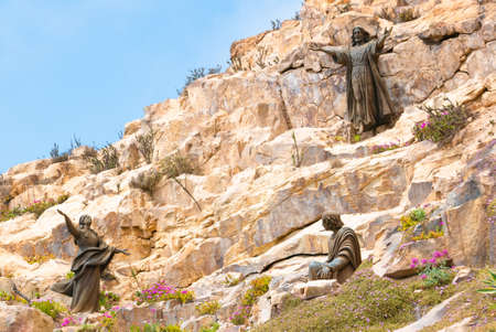 Coquimbo Chile November 12  Sculpture of Christ located in the monument Third Millenium in the North of Coquimbo built in 1999. Shoot on November 12, 2019