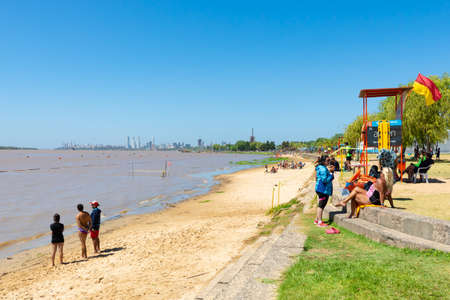 Rosario Argentina February 23 Rosario skyline from Florida Beach the  in Northern Rosario is a nice area where locals do open air activities along the Parana river. Shoot on February 23, 2020