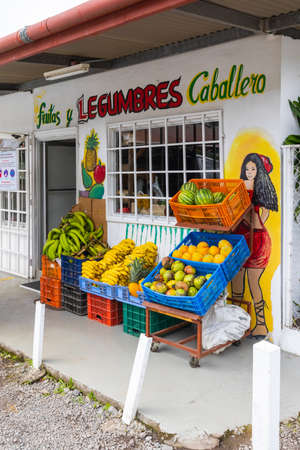 Panama Boquete July 3 facade of a small fruit and vegetable shop in the town. Shoot on July 3, 2020