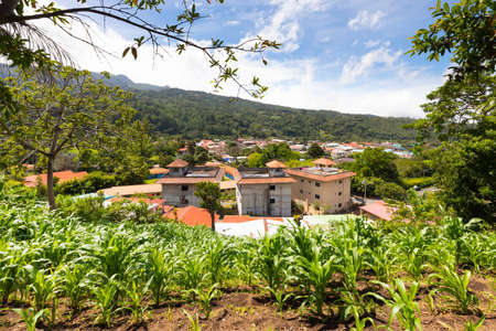 Panama Boquete houses in the western suburbs in a sunny day