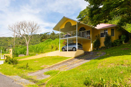 Panama Boquete July 3 typical villa with porch in the hills of Boquete at the foot of the Baru volcano. Shoot on July 3, 2020