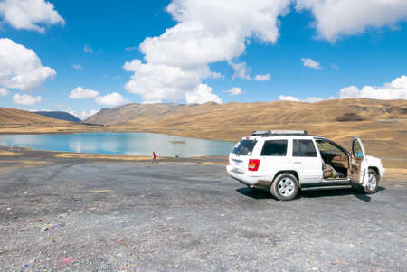 La Paz Bolivia September 15 an off-road vehicle allows you to reach a vantage point over Lake Cumbre at 4000 meters high. Avaroa Shoot on September 2019