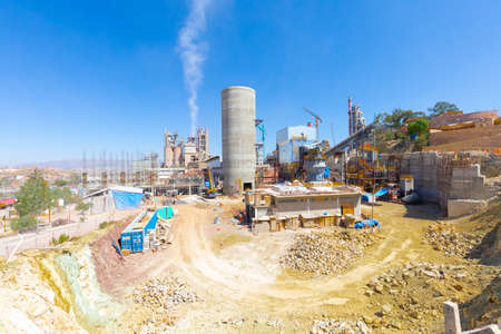 Sucre Bolivia September 27 this is Bolivia's national cement factory where extension work is underway. Shoot on September 27, 2019 Editorial