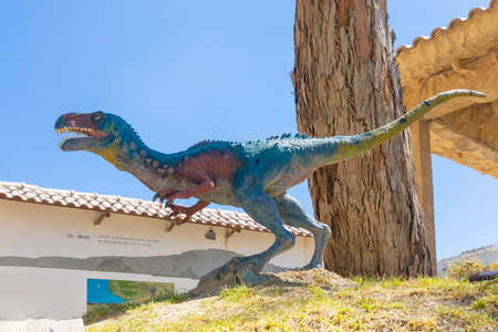 Sucre Bolivia September 27 allosaurus dinosaur reproduction in the Cretaceous Park located in Northern Sucre appreciated for its dinosaur original footprints. Shoot on October 17, 2019 Editorial