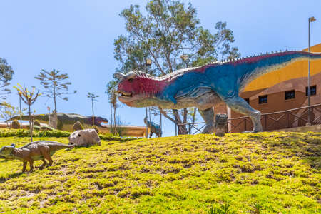 Sucre Bolivia September 27 carnotaur dinosaur reproduction in the Cretaceous Park located in Northern Sucre appreciated for its dinosaur original footprints. Shoot on October 17, 2019 Editorial