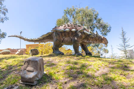 Sucre Bolivia September 27 hylaeosaurus dinosaur reproduction in the Cretaceous Park located in Northern Sucre appreciated for its dinosaur original footprints. Shoot on October 17, 2019