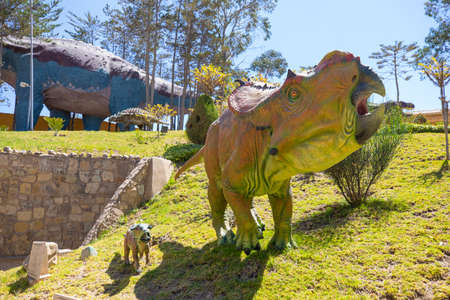 Sucre Bolivia September 27 ceraptosis dinosaur reproduction in the Cretaceous Park located in Northern Sucre appreciated for its dinosaur original footprints. Shoot on October 17, 2019