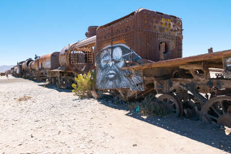 Uyuni Bolivia October 22 the trains used in 1800 to transport minerals between Bolivia and Chile are abandoned in this cemetery. Shoot on October 22, 2019