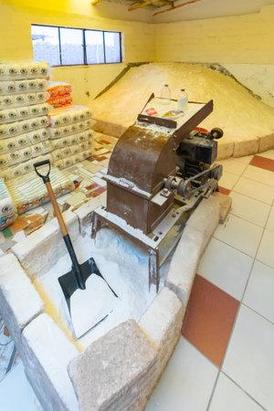 Uyuni Bolivia October 22 machine for grinding salt located in a small factory in Uyuni salar. Shoot on October 22, 2019 Editorial