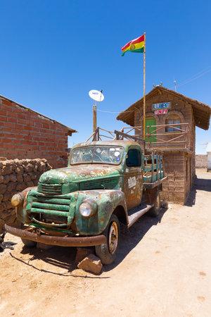 Uyuni Bolivia October 22  old rusty van parked in front of a salt house in Uyuni desert. Shoot on October 22, 2019