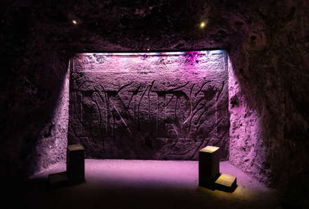 Zipaquira, Colombia June 6 One of the Stations of the Cross was carved by miners in the salt cathedral located in Zipaquira Southern Colombia. Shoot on June 6, 2019 Editorial