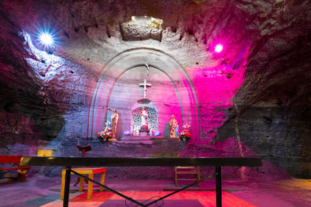 Zipaquira, Colombia June 6 Subterranean altar in the salt cathedral located in Zipaquira city. The Cathedral  was excavated in a salt mine located in Southern Colombia  in the 50s. Shoot on June 6, 2019