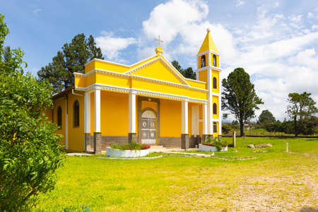 Panama Boquete July 6 located in Alto Boquete district the church of San Francesco in assisi presents itself with its colonial architecture and yellow facade. Shoot on July 6, 2020 Editorial