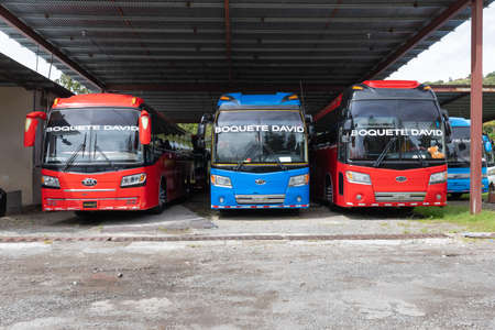 Panama Boquete July 6 in the period of the Covid pandemic several buses are stopped due to the lockdown in a downtown parking lot. Shoot on July 6, 2020