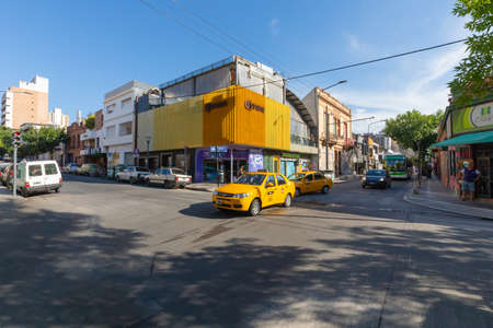 Cordoba Argentina January 4 Belgrano avenue with its restaurants and beers houses in Guemes district in the South of the city at sunset. Shoot on January 4, 2020