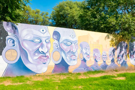 Cordoba Argentina January 4, This mural located in Tejas district Northern Cordoba represents some african men. Shoot on January 4, 2020