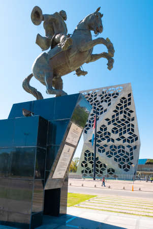 Cordoba Argentina December 17 equestrian monument in Northern Cordoba dedicated to the hero Bautista Busto Argentinian military. Shoot on December 17, 2019