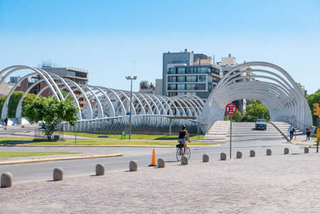 Cordoba Argentina December 17 This modern bridge built in 2016 in Northern Cordoba is part of the Bicentenary Park of the city. Shoot on December 17, 2019