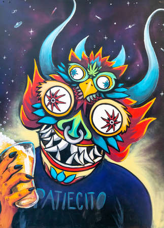 Cordoba Argentina December 17 this mural located in Southern Bogota represents a devil. Shoot on December 17, 2019