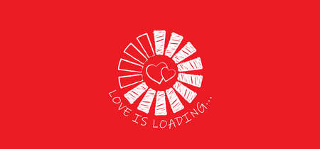Love banner with heart symbol. Love heart month or happy singles day background. Happy valentines day on february 14 (valentine, valentine's day) or romantic, wedding signs Fun vector romance quote Vektorgrafik