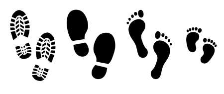 uman walk footprints shoes and shoe sole Kids feet and foot steps Fun vector baby footsteps icon or sign for print Kid step for trail Walking footstep and footprint for trekking or follow route