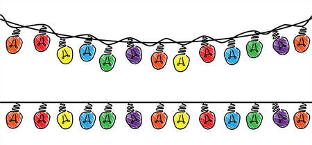 Dangle string lights vector. Colored bulb, bright string lights signs. Festive holiday decoration garland glowing light bulbs for the street home party lights. Think big Ideas. Christmas (xmas)
