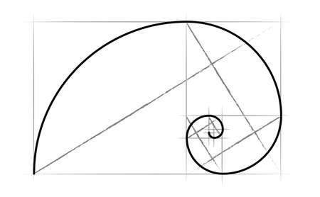 Leonardo da Vinci day. The golden ratio template spiral. Fibonacci number. Circles in golden proportion icon. Mathematics with formula code. Drawing Physics, grid divine proportion. line pattern. Geome