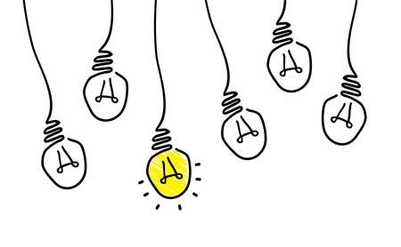 Comic brain electric lamp idea doodle. FAQ, business loading concept. Fun vector light bulb icon or sign ideas. Brilliant lightbulb education or invention icon banner