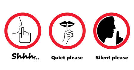 Stop, please be quiet icon (psssst). Forbad, silence no speaking or no talking (shhh). Funny vector flat icons silhouette Silent finger over lips or mouth sign. Sound off. Secret asking to silence