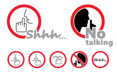 Stop, please be quiet icon (psssst). Forbad, silence no speaking or no talking (shhh). Funny vector flat icons silhouette Silent finger over lips or mouth sign. Sound off. Secret asking to silenc