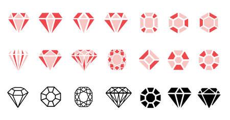Jewels diamond icons. Diamonds gems, luxury jewel gemstones and precious gem. Crystal gemstone, jeweler gems precious or jeweler brilliant treasure. Isolated vector bijou, precious flat line pattern Vecteurs