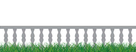 Balustrade wooden. seamless vintage railing made of wood and stone or gypsum. Flat vercor Balustrades sign. Marble Balustrade shandrail for balcony, porch or garden in classic roman style.