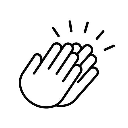 Applause audience. icon. Clap, plaudits, standing ovation symbol. flat hands clapping icons. High five signs. Vector human language sign. Bravo congratulation, congrats, you did it. Cheer hands up.