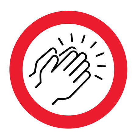 Don't applause or high five icon. Stop, no clap, plaudits, standing ovation symbol. flat hands clapping icons. Vector human language sign. Forbidden, Beware, stop halt allowed area. No ban zone