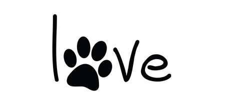 i love my dog or cat. Cartoon line pattern. Dog's or cats footprint, Funny vector dog quote signs. Lovers silhouette. Animals day Funny footsteps or steps. Pet paw step slogans