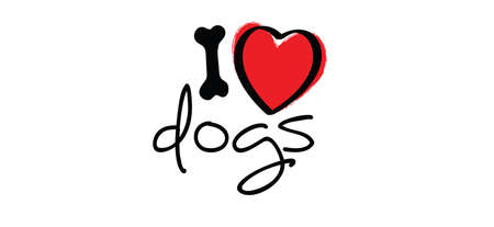 i love my dog with bone and love heart symbol. Cartoon line pattern. vector dog quote signs. Lovers silhouette slogans. Animals day. Funny lovely quotes.