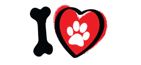 i love my dog with bone and love heart . Cartoon line pattern. vector dog quote signs. Lovers silhouette slogans. Animals day. Funny lovely quotes.