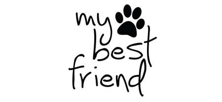 i love my dog or cat. Cartoon line pattern. Dogs or cats footprint, Funny vector dog quote signs. Lovers silhouette. Animals day Funny footsteps or steps. Pet paw step slogans.