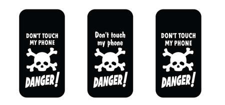 Slogan don't touch my phone, dont touch my phone or do not touch my phone. Mobile cover sign. Comic quote for social media content signs. Vettoriali
