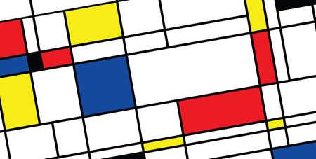 Checkered Piet Mondrian style emulation. The Netherlands art history and Holland painter. Dutch mosaic or checker line pattern banner or card. Geometric seamless elements Retro pop art pattern. Vektorové ilustrace