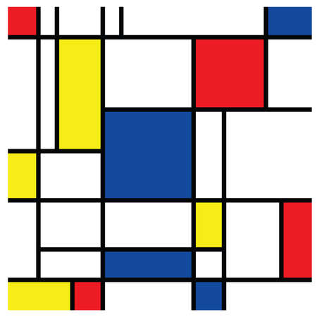 Checkered Piet Mondrian style emulation. The Netherlands art history and Holland painter. Dutch mosaic or checker line pattern banner or card. Geometric seamless elements Retro pop art pattern.