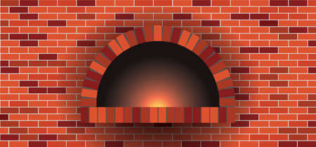 Bakkery wall, oven, bonfire, stove, bakery rolling pin. Wood oven in a stone brick wall banner. Firewood oven with shovel Vector food signs. Pizzeria restaurant (Pizza) or bread shop. Kitchen.