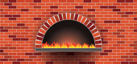 Bakkery wall, oven, bonfire, stove, bakery rolling pin. Wood oven in a stone brick wall banner. Firewood oven with shovel Vector food signs. Pizzeria restaurant (Pizza) or bread shop. Kitchen. Vektorgrafik