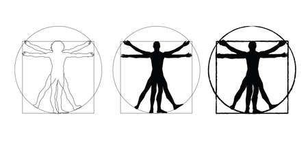 Vitruvian Man by Leonardo Da Vinci. Concept of scientific propotion, drawing vitruvian Man about human anatomy (executed circa 1490) by ancient manuscript of Roman master Marcus Vitruvius Pollio.