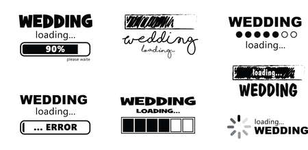 Keel calm wedding is loading bar Vector icon icons sign sign fun funny day background get married weekend party couple wedding rings ceremony bride just married error groom grooms love romance romatic Ilustração