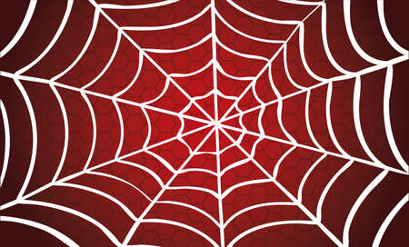 White Cobweb Red background. Vector Spider happy halloween party day fun funny spooky creepy horror insect hush slide 31 october fest Spiderman hallow Webbing line pattern Unlucky Accident zombie.